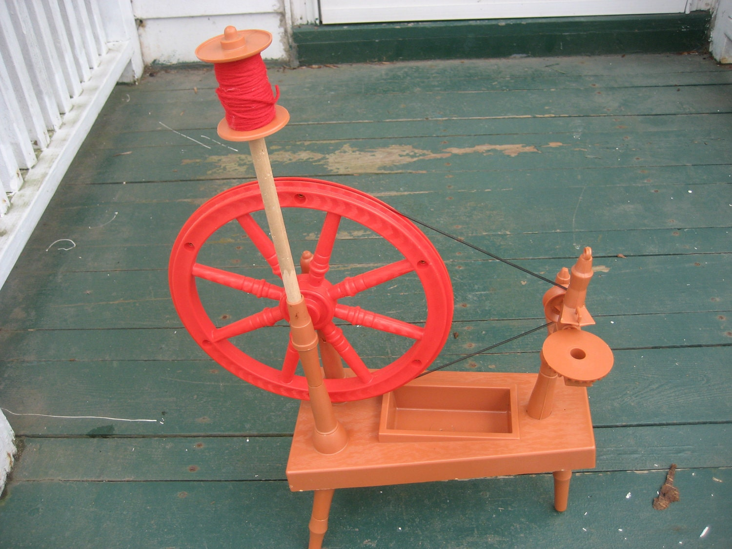 Knitting Wheel Projects : Remco little red spinning wheel knitting toy by gngsvintage