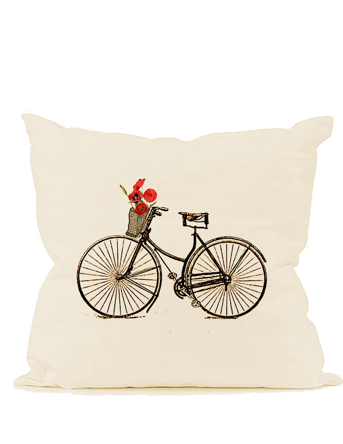 Vintage bicycle digital download image Basket Orange Poppies with or without Paris Streets transfer to fabric paper pillows burlap No. 586