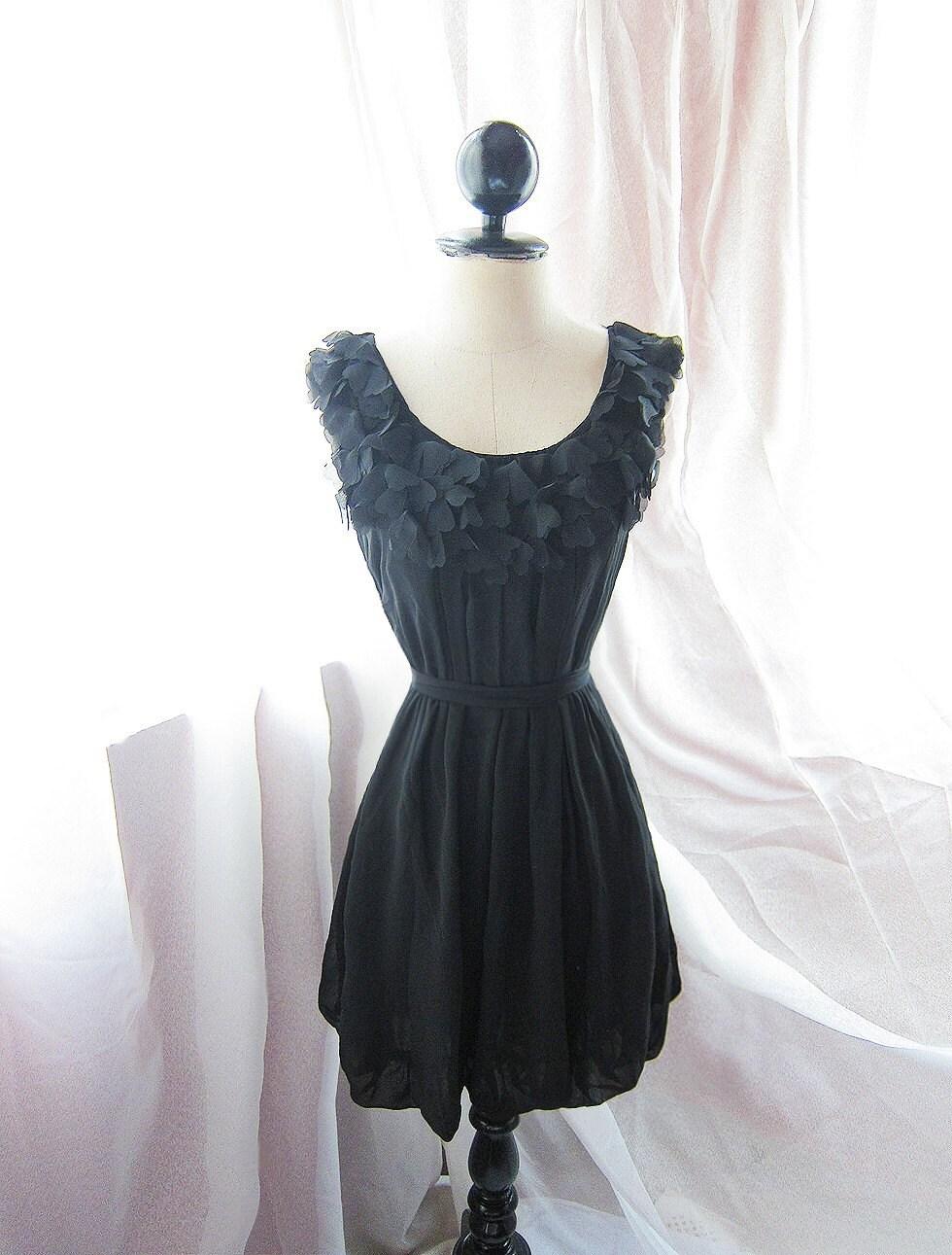 Classic Dreamy Romantic Havisham Mille Feuille Heart Cutouts Chiffon FlowyTwilight Little Black Dress