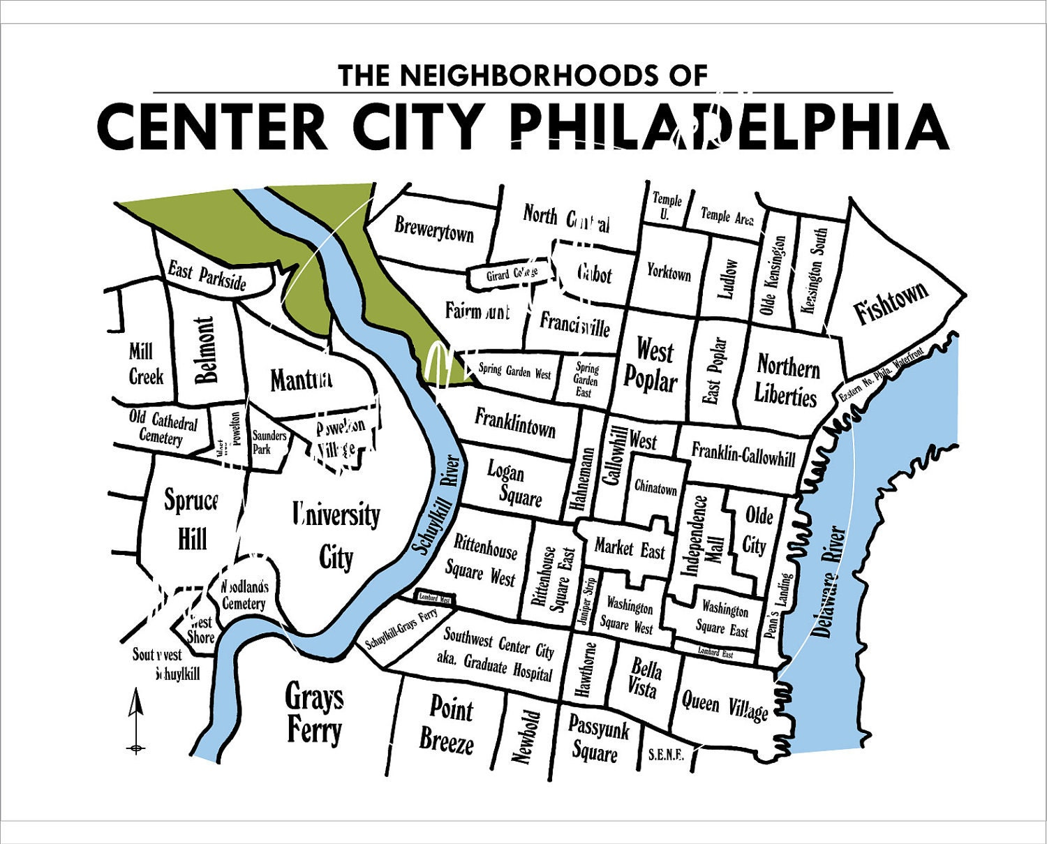 Center City Philadelphia Neighborhoods Map By PhilaMapCo