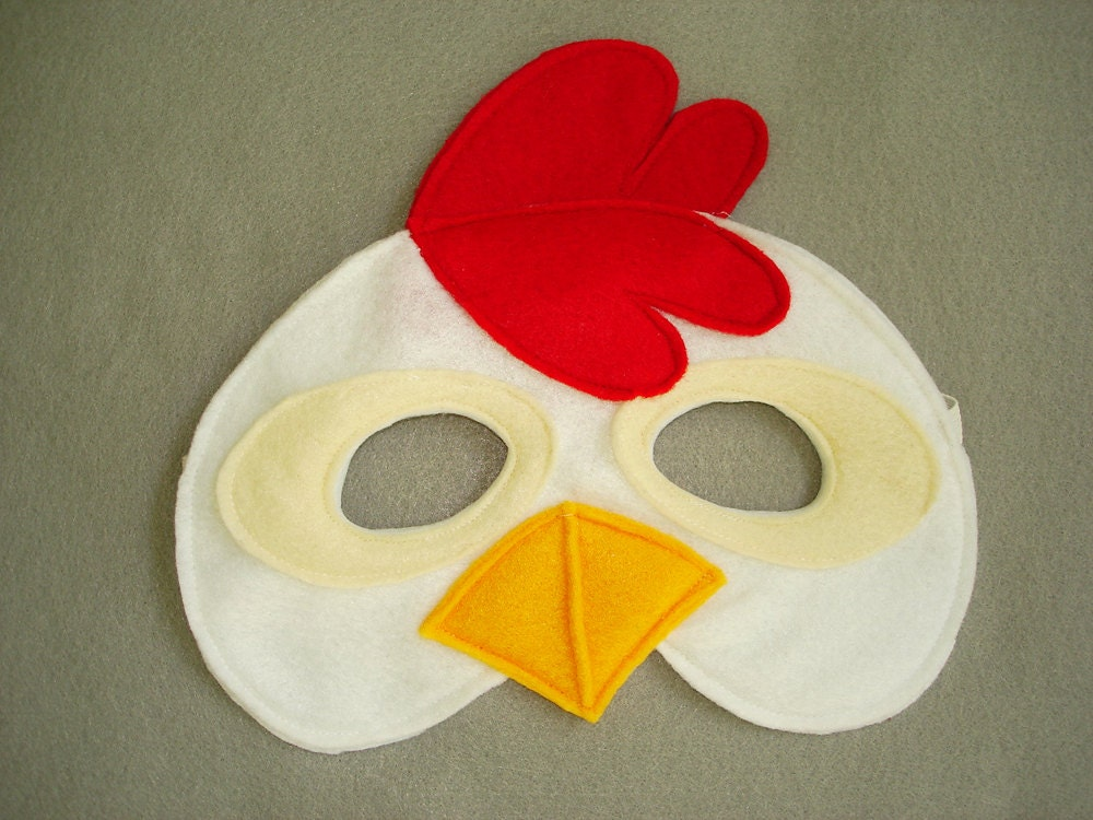 children s chicken farm animal felt mask by magicalattic on etsy
