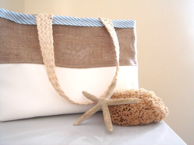 Burlap Trendy Beach Bag Stylish Nautical Bag By PrettyPositano