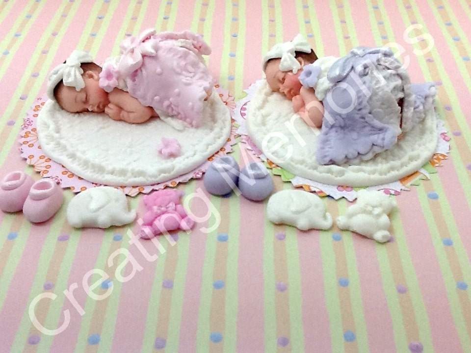 Twin Baby Girls Cake Topper/Baby Shower, Birthday, Baptism, Cake ...