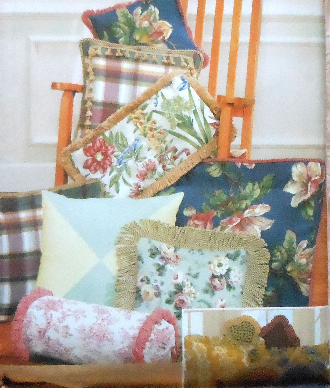 Decorative Neck Roll Pillow Pattern : Decorative Pillows Sewing Pattern UNCUT by latenightcoffee on Etsy