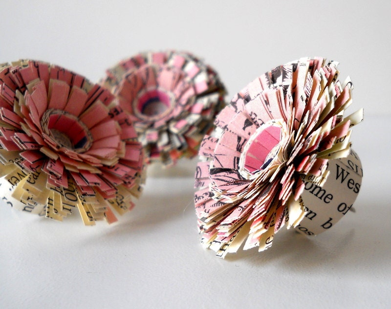 Push Pins, Vintage Paper, Handmade Set of Three Small Flowers - Pink, Pretty, Tack, Cute, Tiny, Mini, Antique Paper, Work, Text, Writing