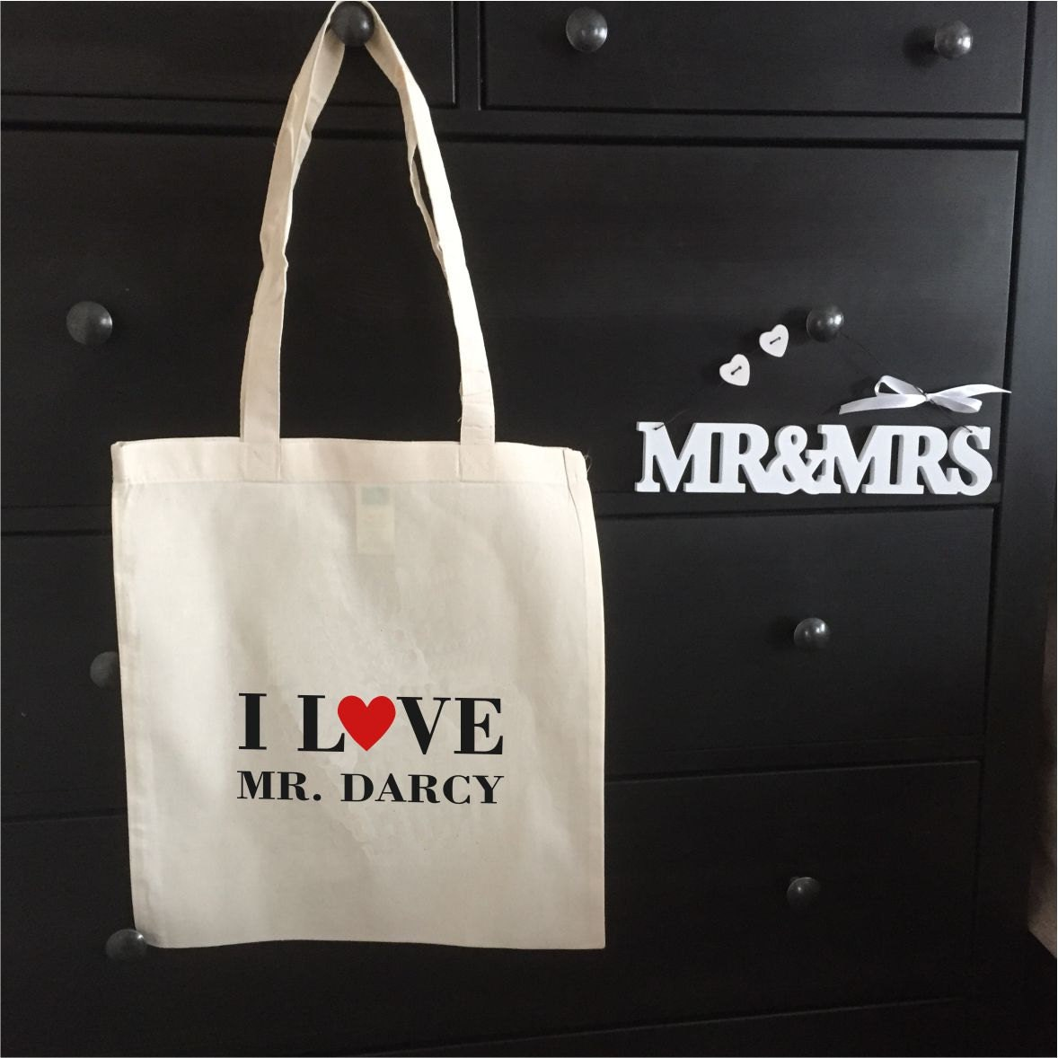 I Love My Darcy  Tote Bag Jane Austen Inspired Book Bag Birthday Mothers Day Gift