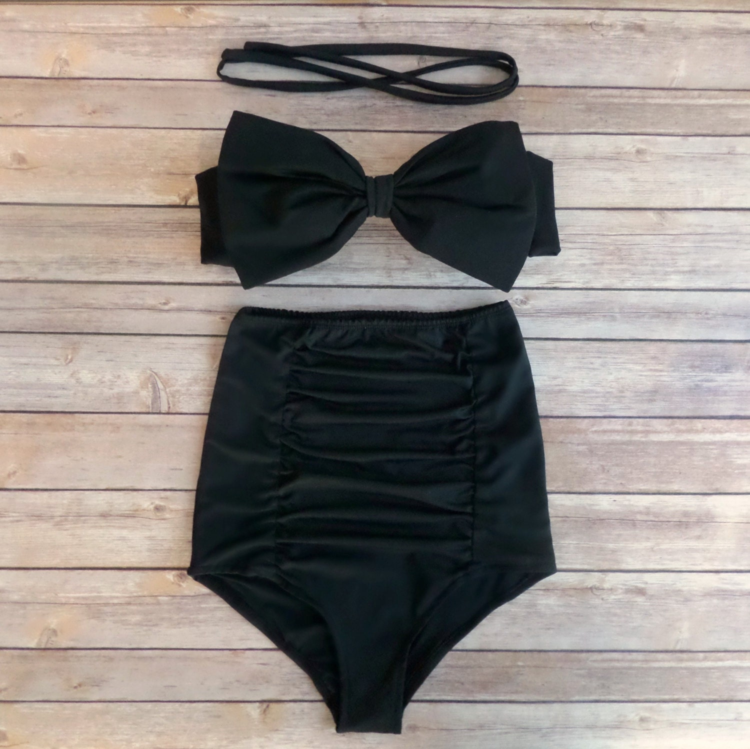 Bow Bandeau Bikini  Vintage Style High Waisted Pinup Swimwear   With Extra High Waist Ruched Panel Bottoms