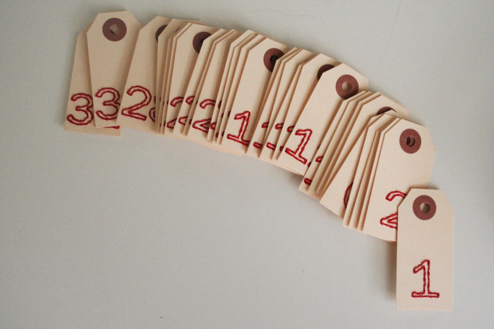 1 to 31 small stitched number tags - elizabethrosemond