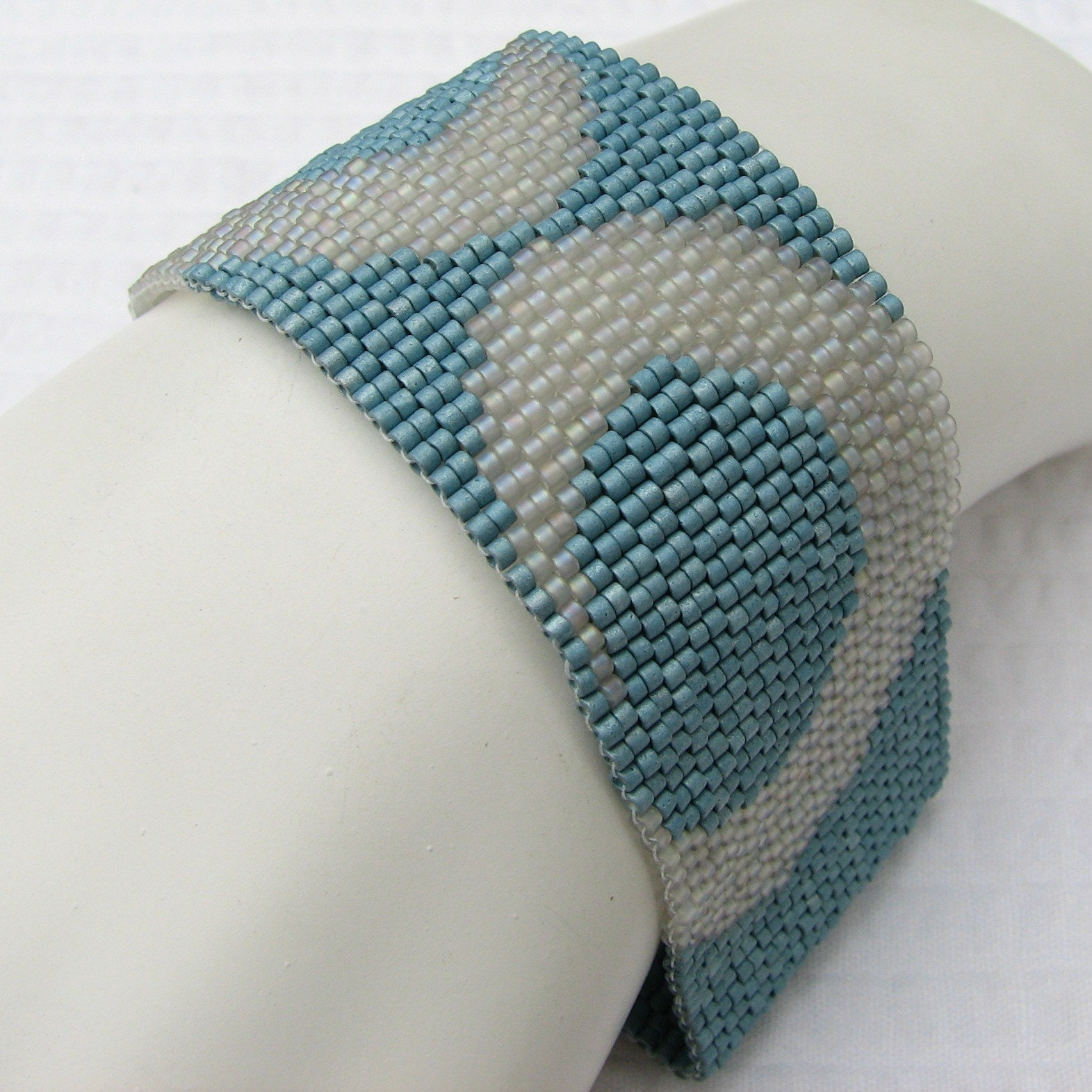 Wide Aqua and Grey Peyote Cuff  (2167) EtsyFreeShipping