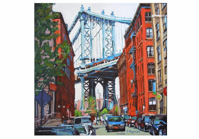 Manhattan Bridge, Dumbo Brooklyn Original Cityscape Painting by Gwen Meyerson