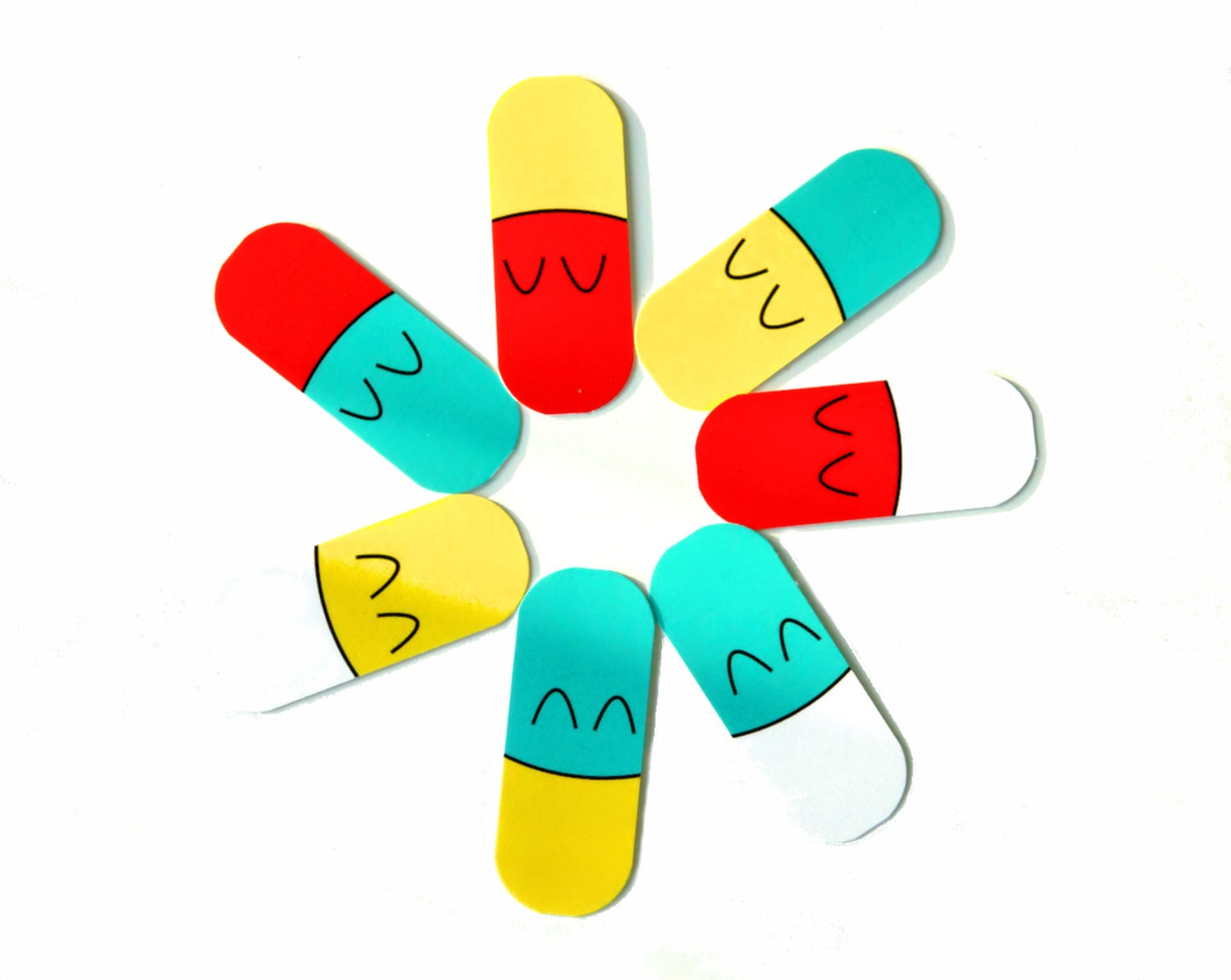 Happy Pill Capsules Giant Mini Notecard Tags (Pack of 7) - Gloriousmess