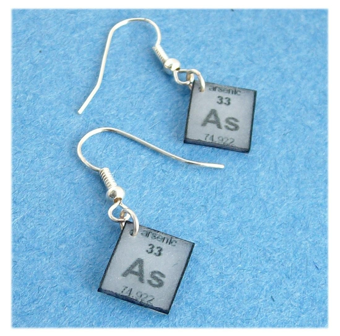 handmade earrings geekery arsenic poison periodic table element