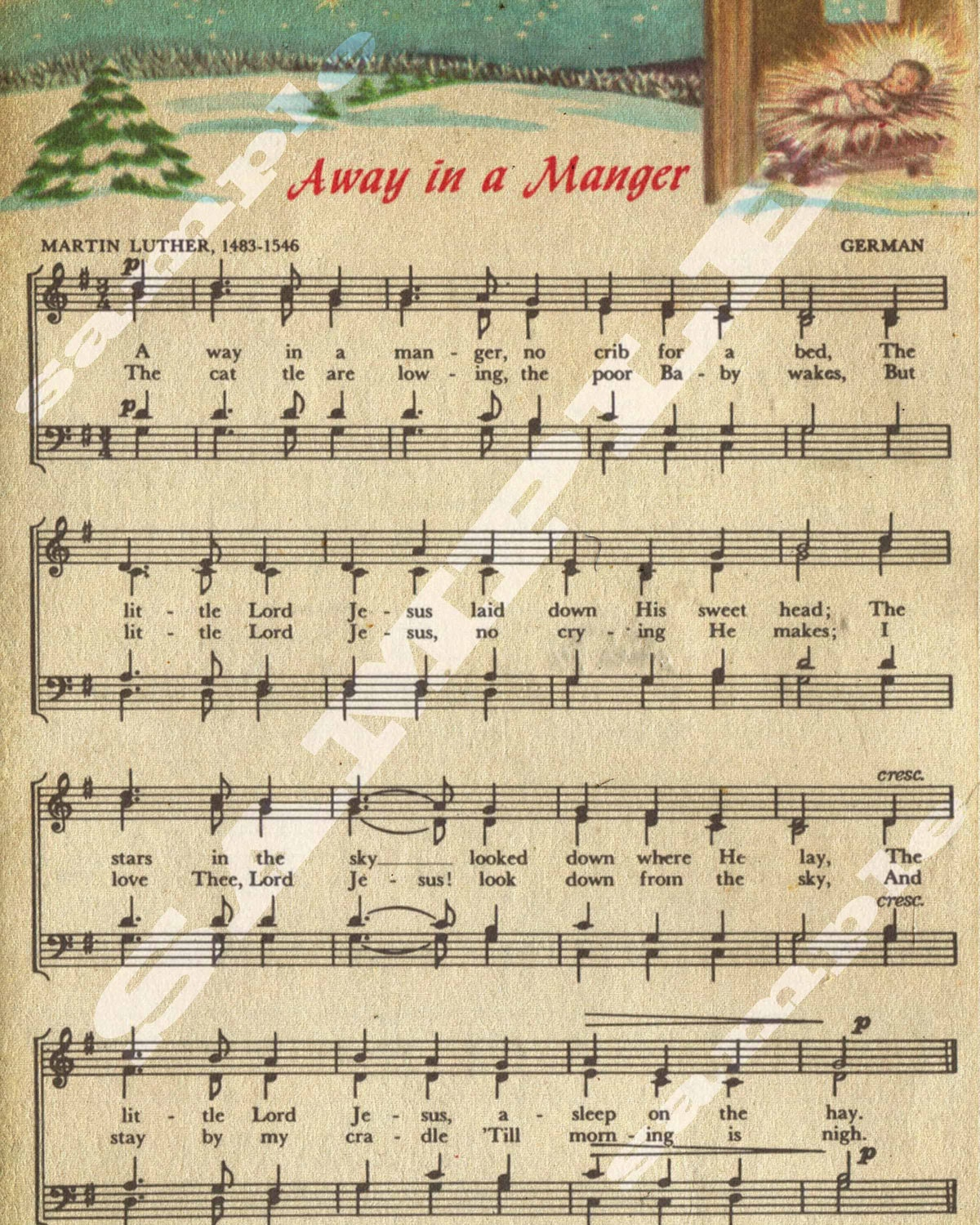 Away in a Manger Christmas Holiday Religious by tinyblessingstx