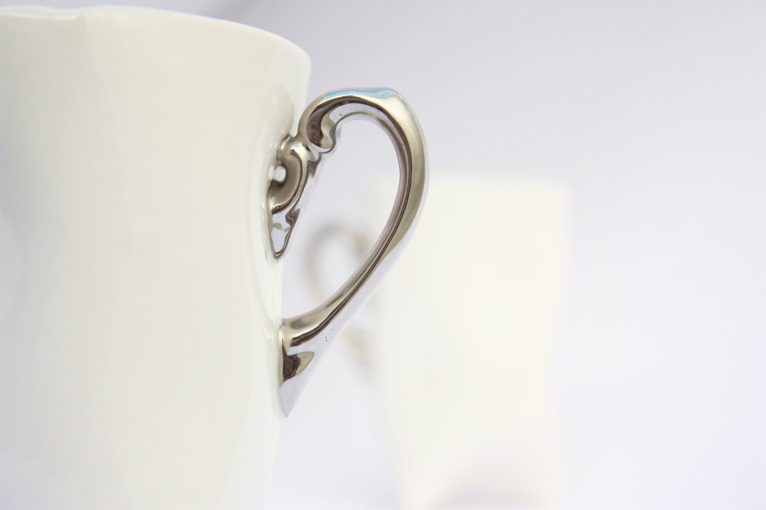 Ceramic porcelain mug - white with silver, unique cup handmade for coffee or tea by Endesign