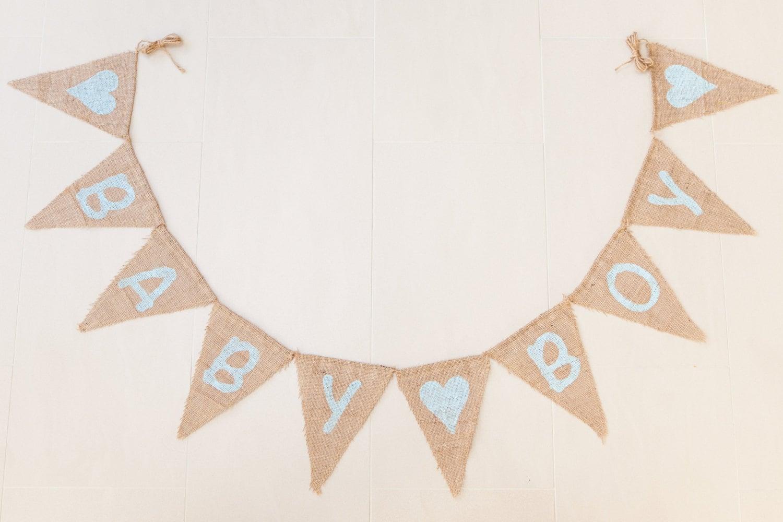 BABY BOY Bunting  Baby Shower Vintage Handmade Burlap  Hessian Bunting Shabby Chic Rustic Banner