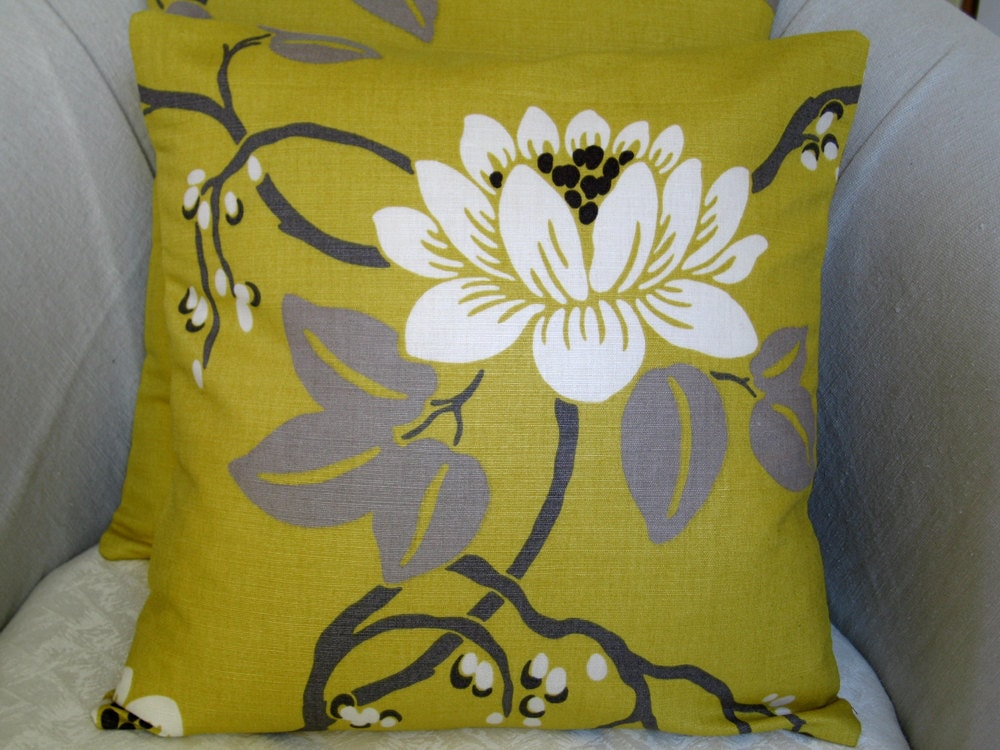 "2 handmade 16"" cushion / pillow covers, throw pillows, pillow shams in contemporary,modern designer Romo mustard fabric with flower design"