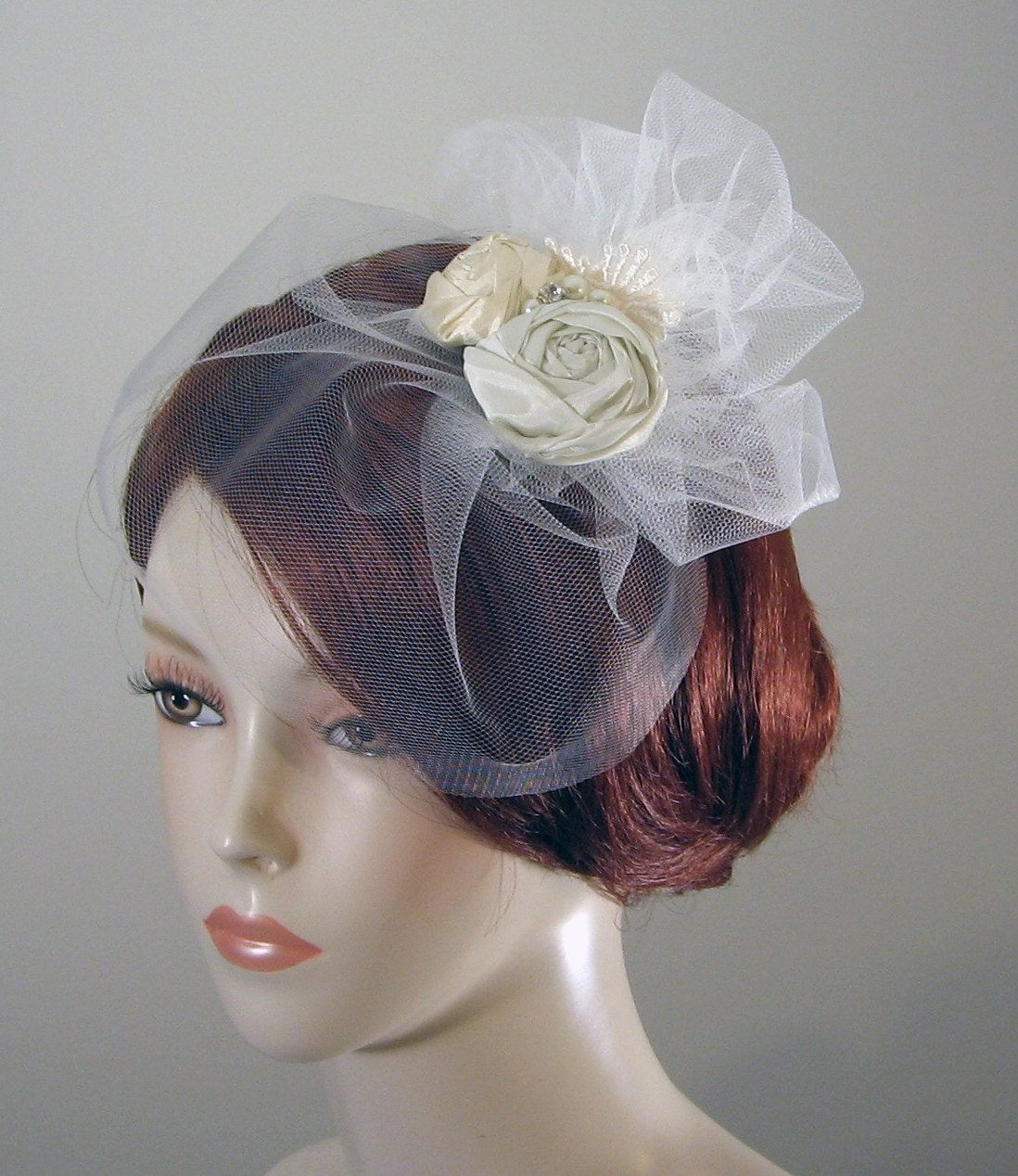At Last, Ivory Tulle Birdcage Veil with Matching Rosette Fascinator