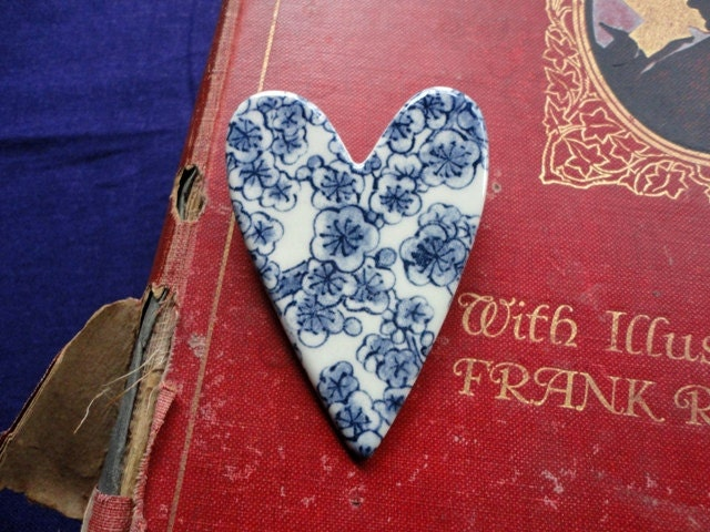 Ceramic Heart Brooch, Cherry Blossom Design