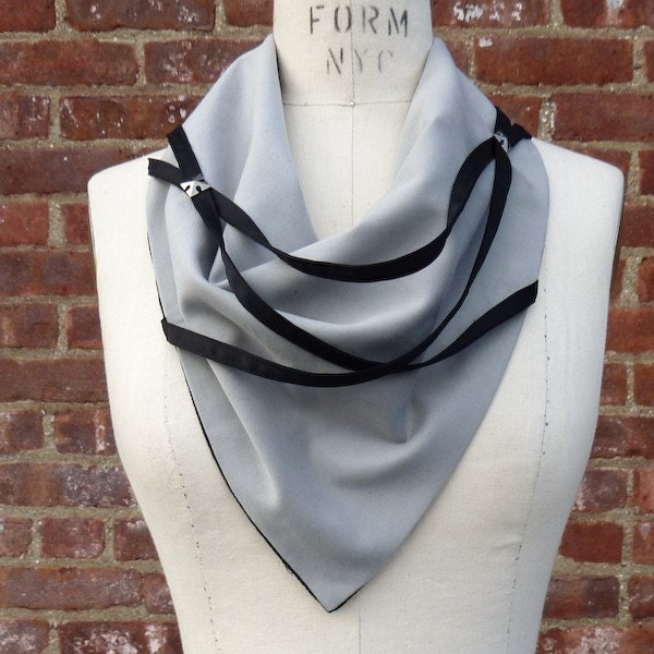 Contrast Uisex Strapped Grey and Black Rockin Neckerchief  (vegan friendly)