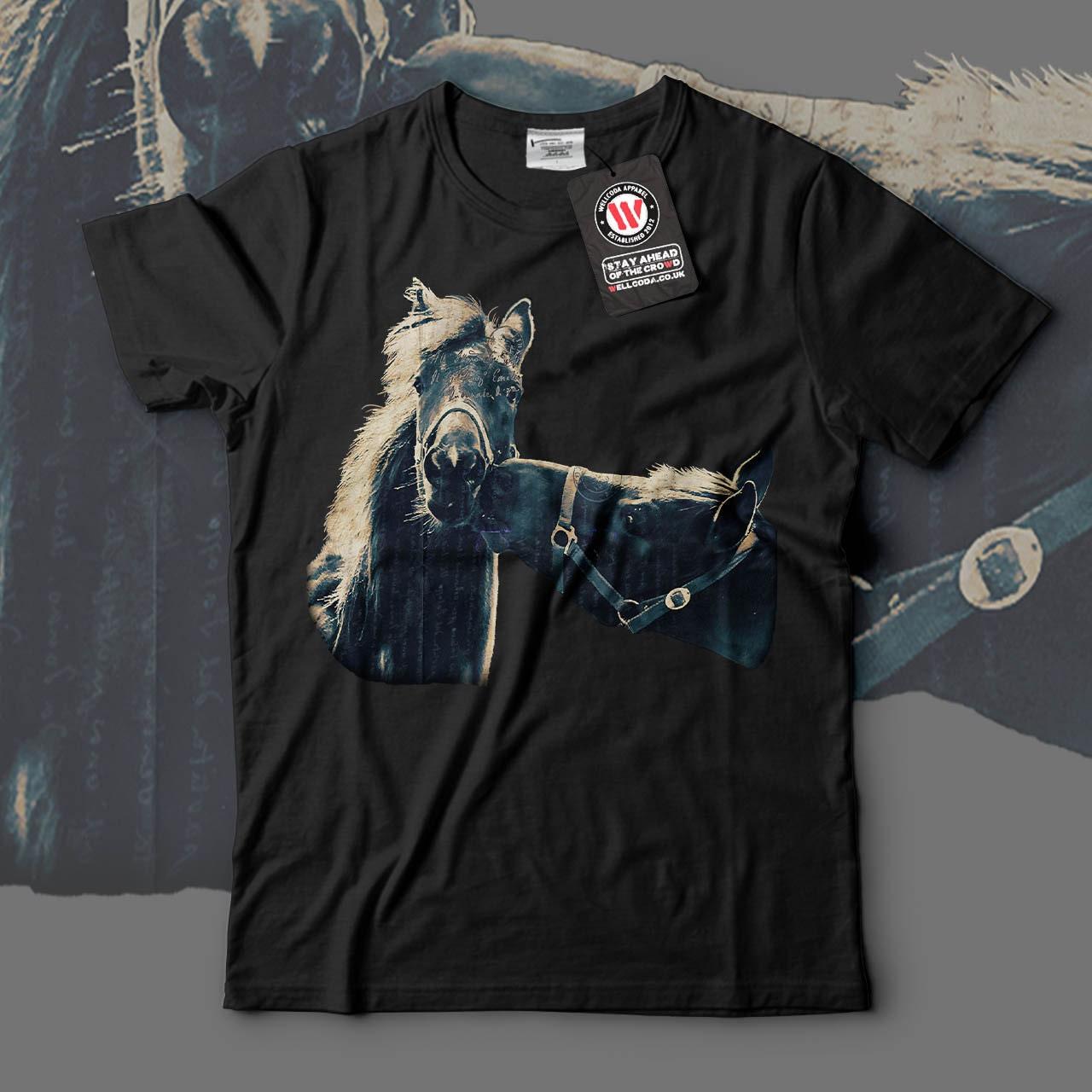Animal Friendship Horse Beauty Men Black White Grey Red Royal Blue Tshirt S5XL NEW  Wellcoda y2146