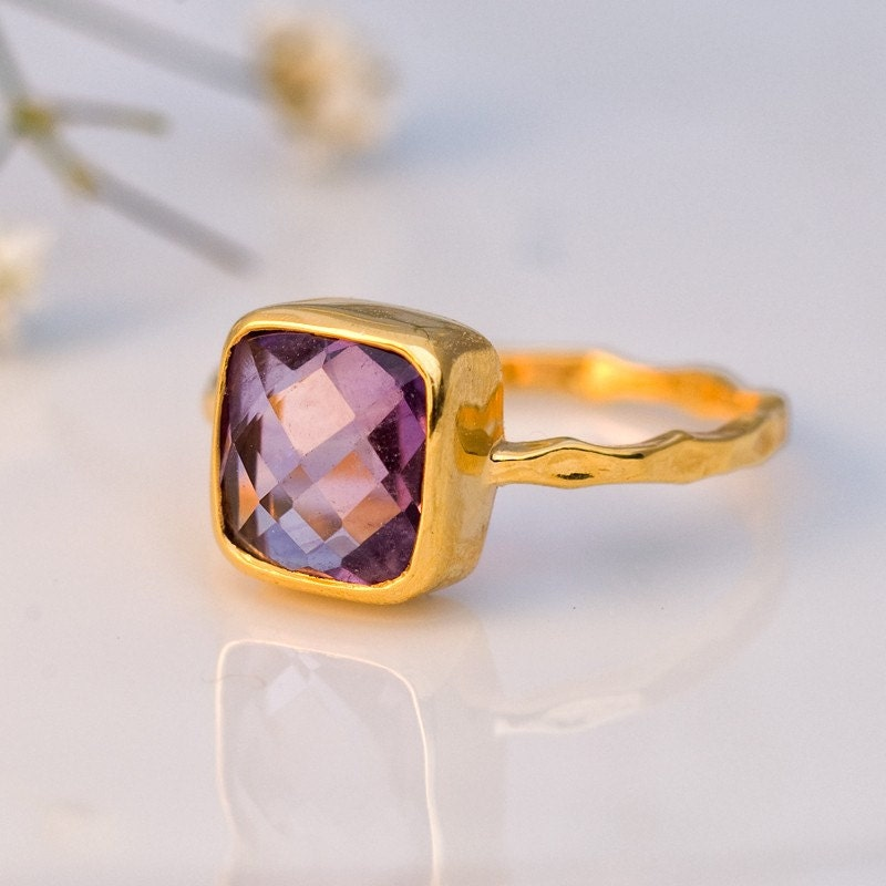 18K Hammered Gold Vermeil and Real Faceted  Square Amethyst Ring