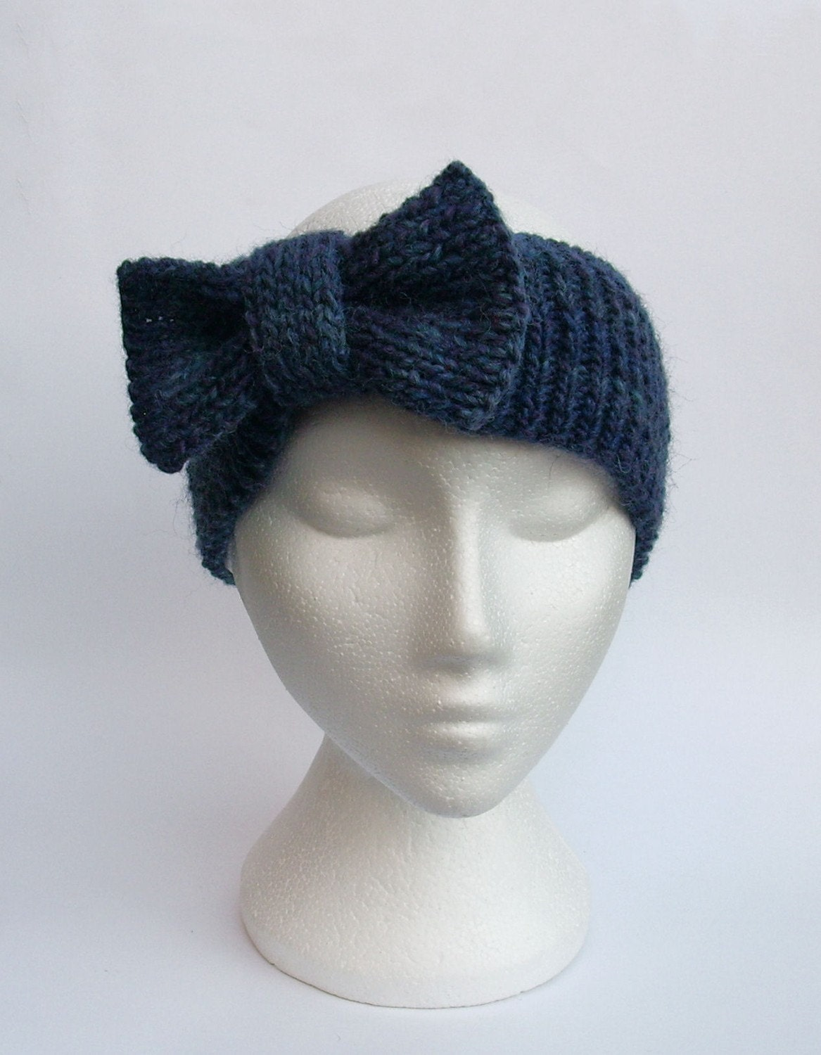 Knitted Headband With Bow Pattern : Knit bow headband handmade headband ear warmers in ink by jarg0n Craftjuice...