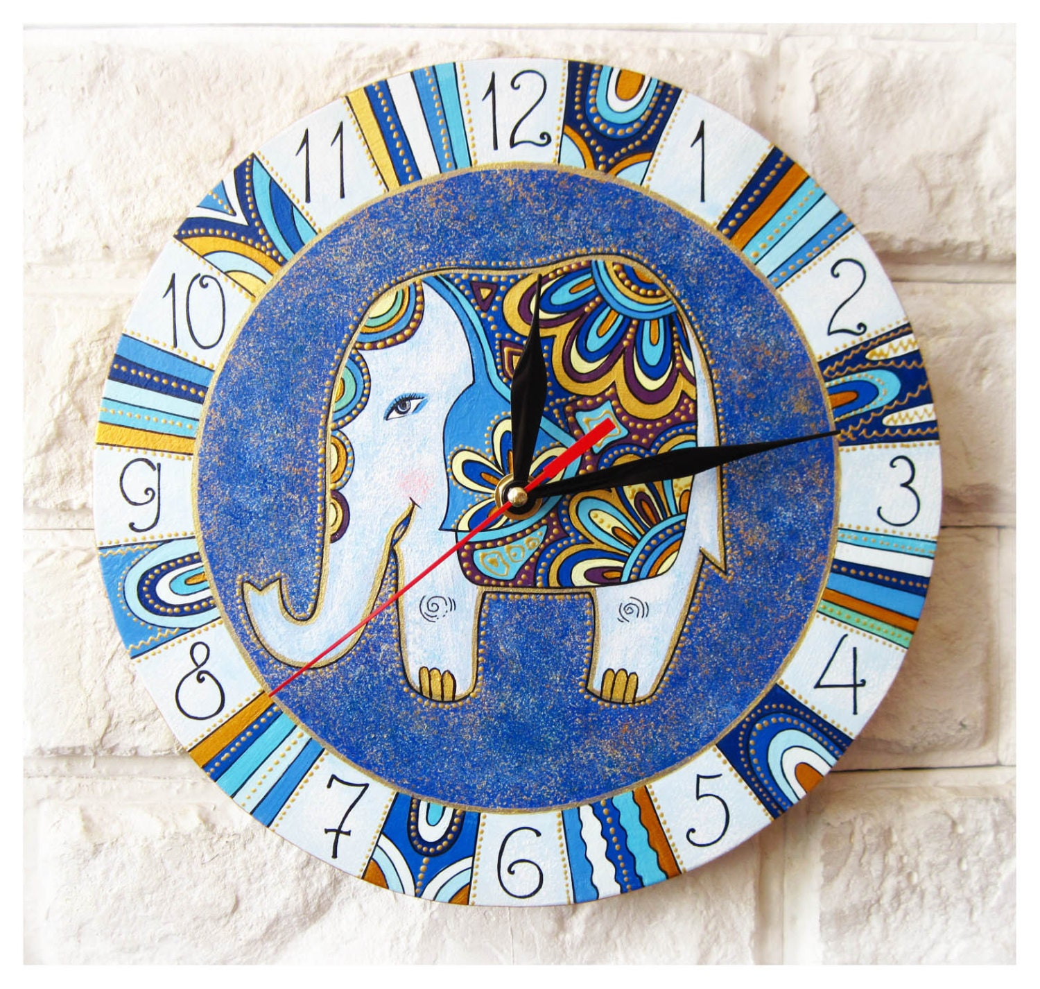 The Blue Elephant Wall Clock Home Decor For Children By Artclock