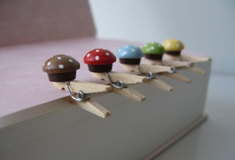 Sweet Mini Mushroom Wood Paper Clips