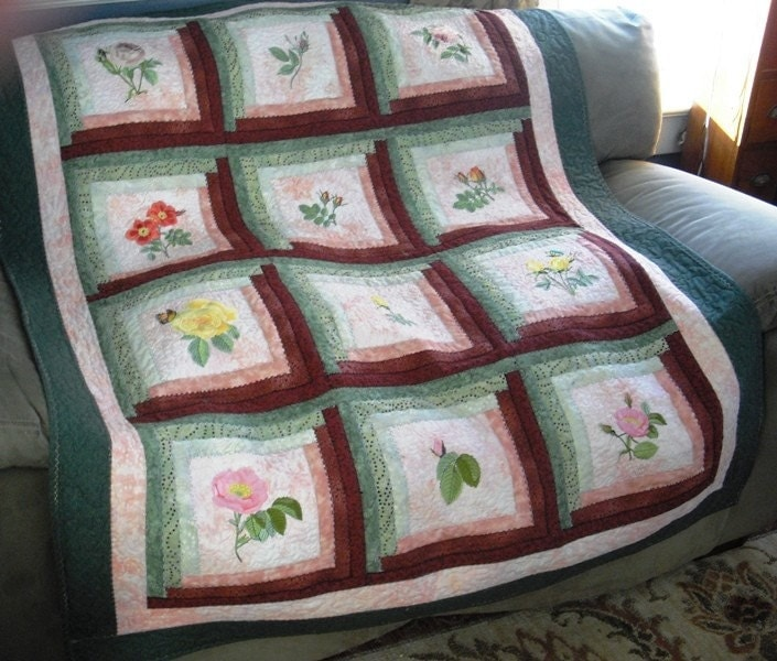 Large Quilted Log Cabin Throw with Embroidered Roses