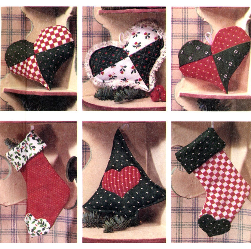 Heart Motif Fabric Christmas Decorations By Cynicalgirlannex