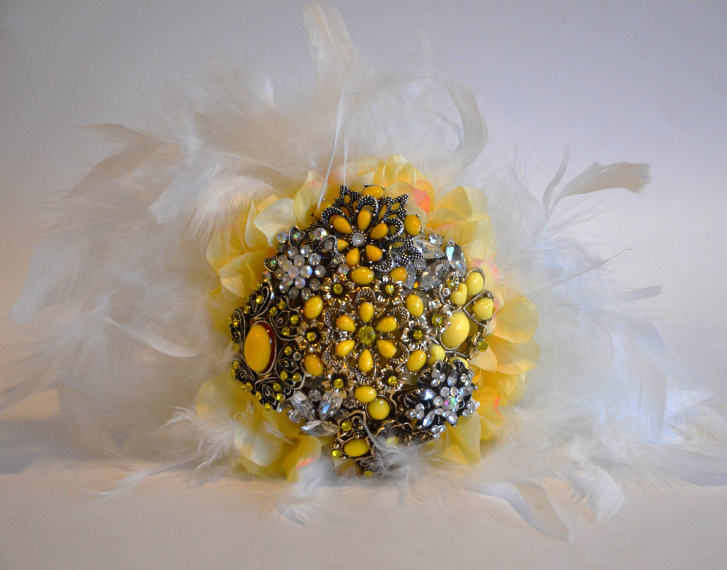 Bridal Bouquet Base : Yellow brooch bouquet with ivory feather base bridal by