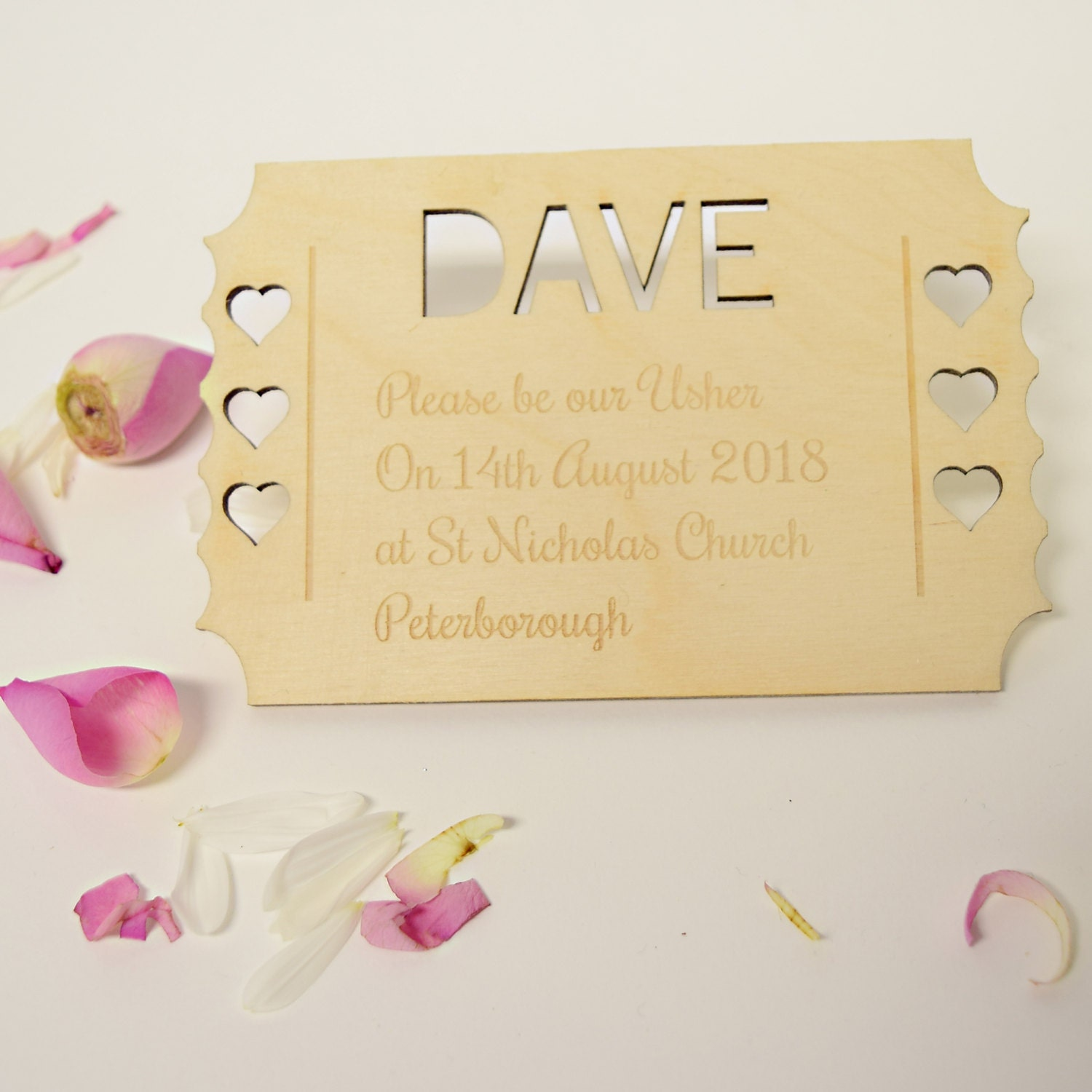 Personalised Usher Invitation  Be Our Usher Invitation  Wooden Usher Invite  Laser Cut Ticket Usher Keepsake