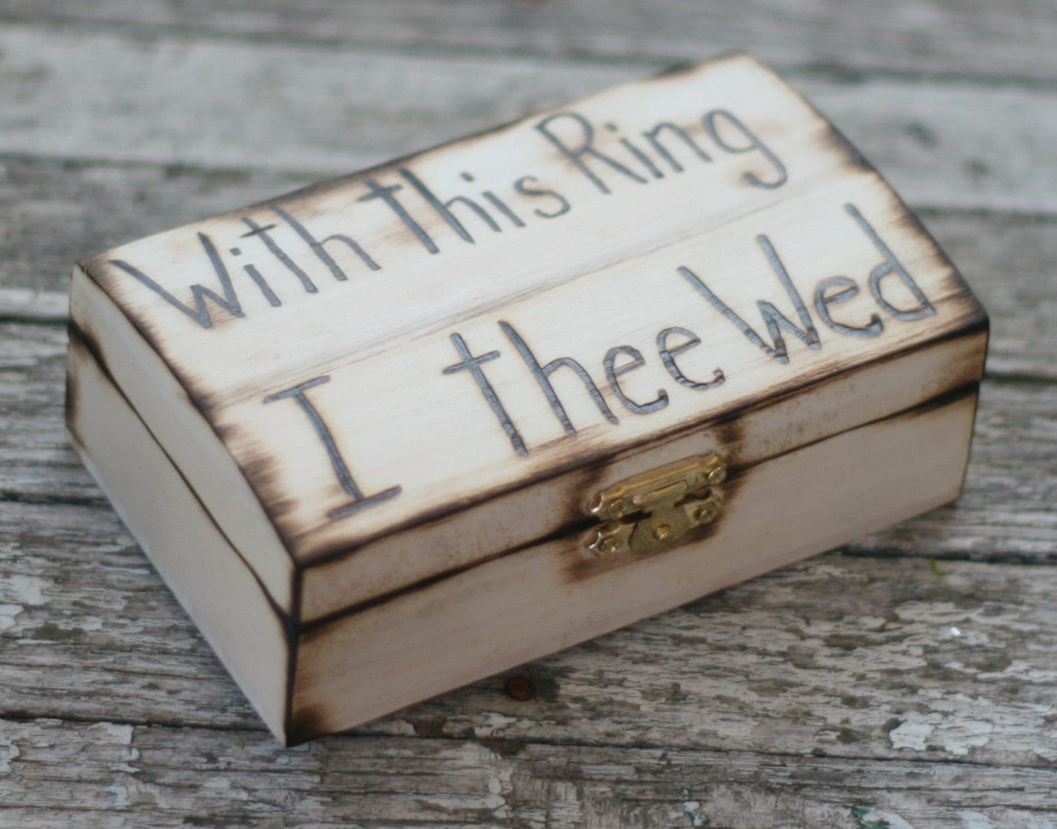 With This Ring I Thee Wed Rustic Woodland Western Beach Ring Bearer Pillow Ring Jewelry Box Personalized