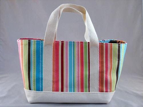 Stripe and Flower Mini Tote Bag