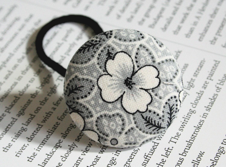 Grey flowers - an oversized ponytail holder