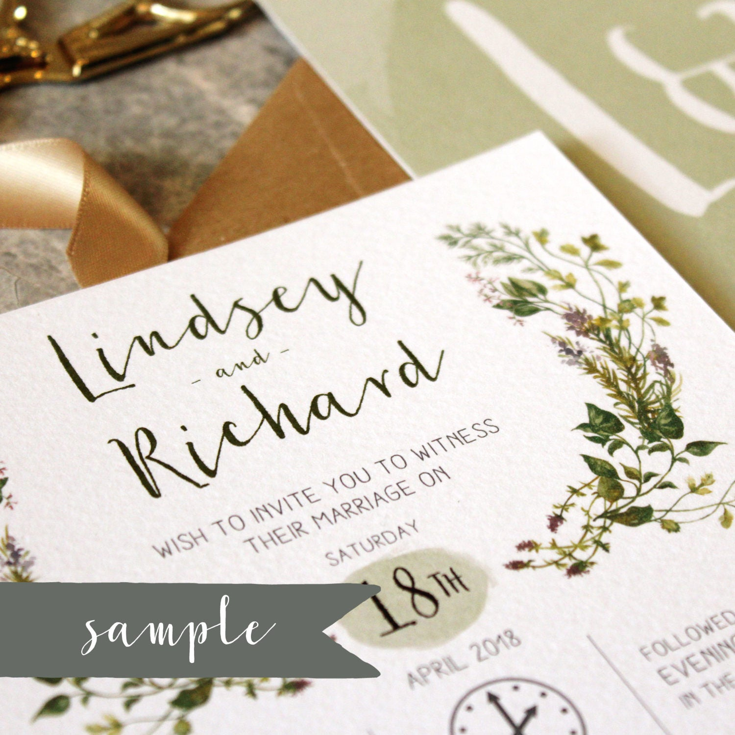 SAMPLE  Herb Garden Wedding Invitation