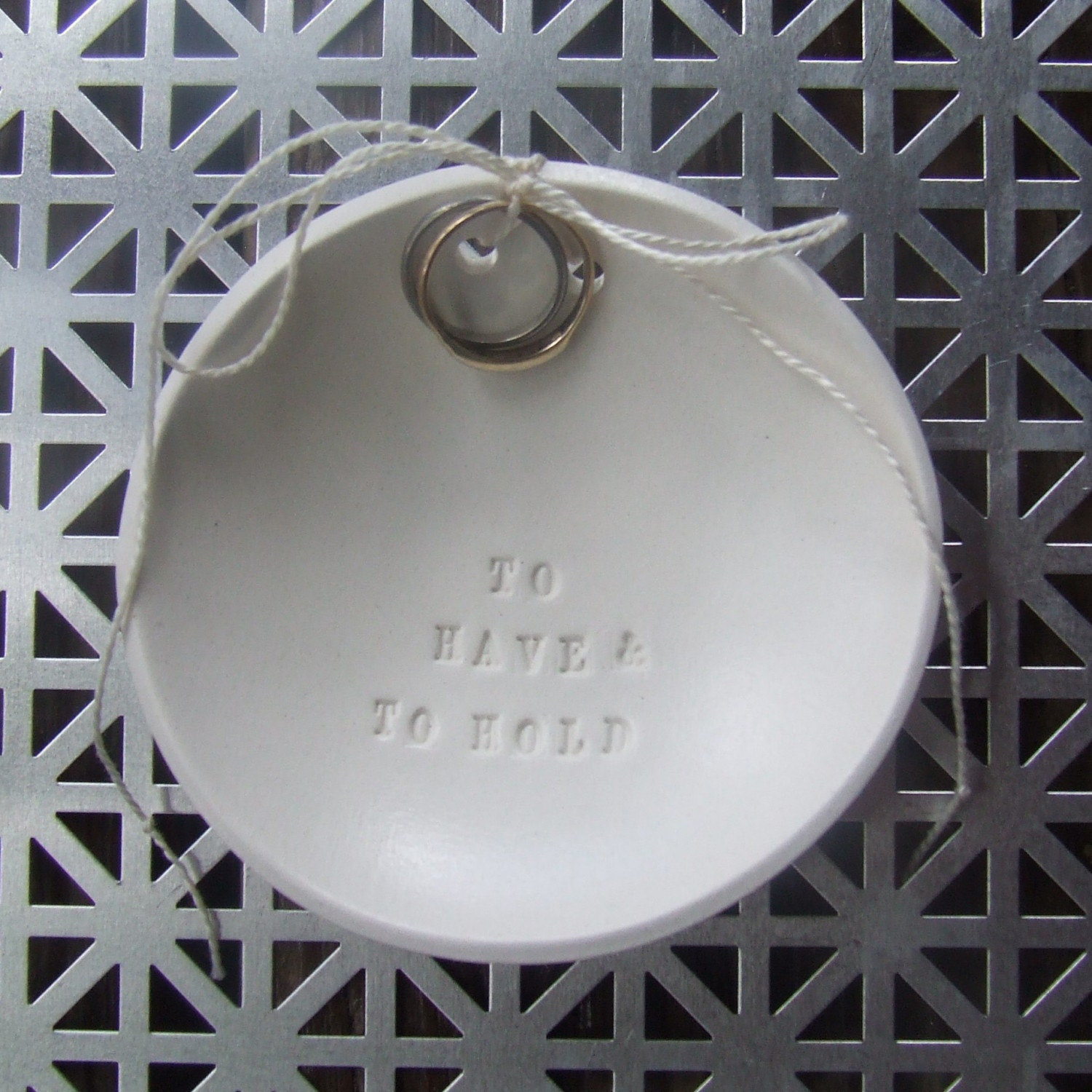 TO HAVE AND TO HOLD ring bearer bowl with tiny text - wedding or commitment ceremony dish - the original modern heirloom by Paloma's Nest