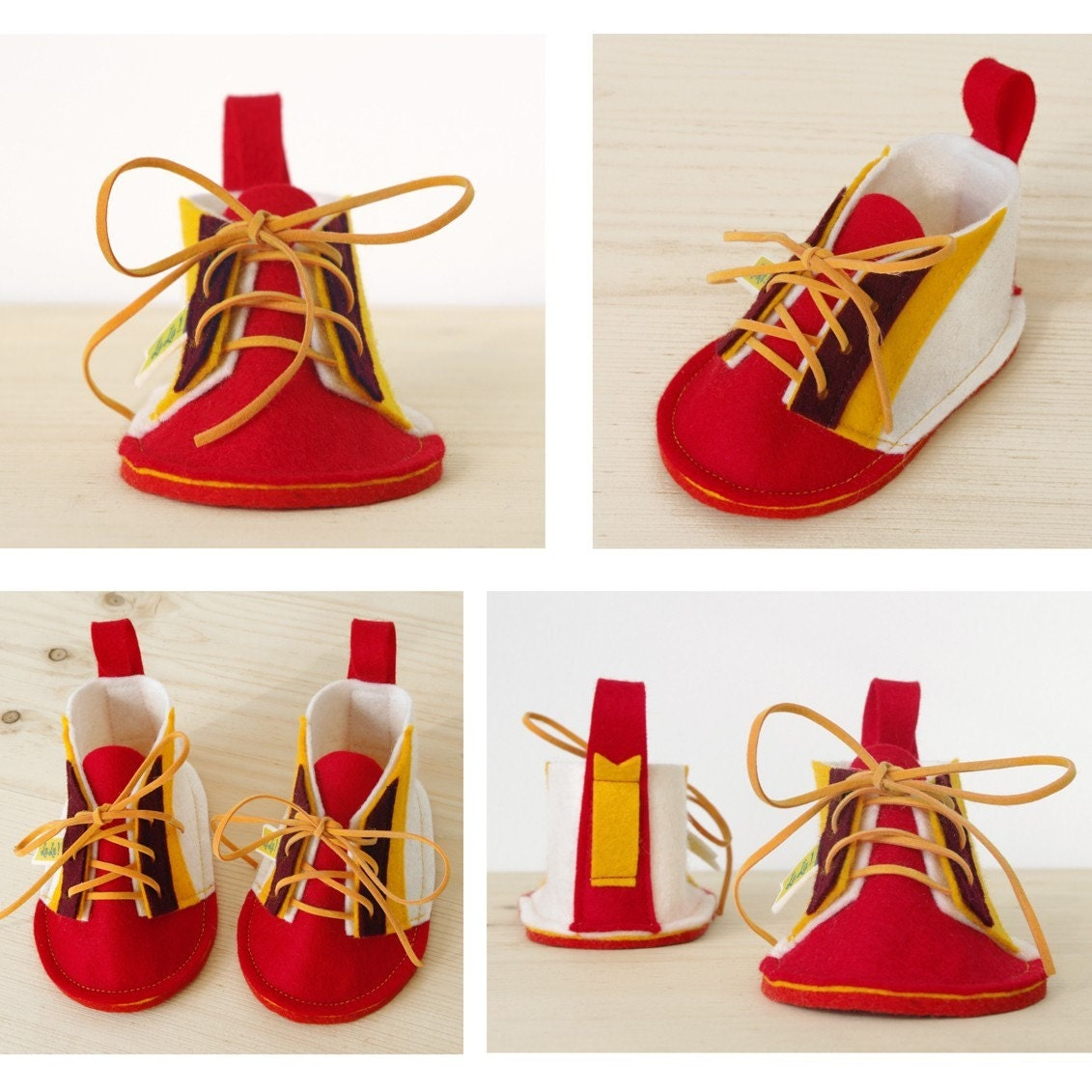 Eco baby booties Red Wawa soft sole baby shoes, Retro Modern design for boys & girls - red, white, yellow