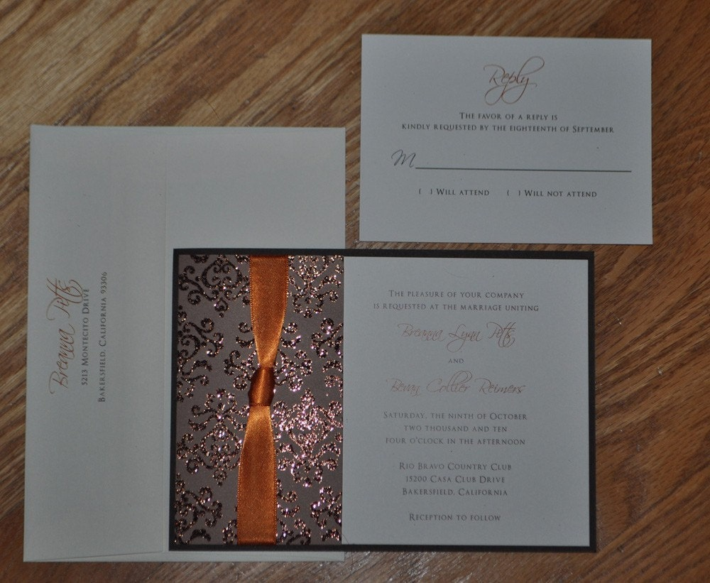 Fall Flocked in Brown Invitation