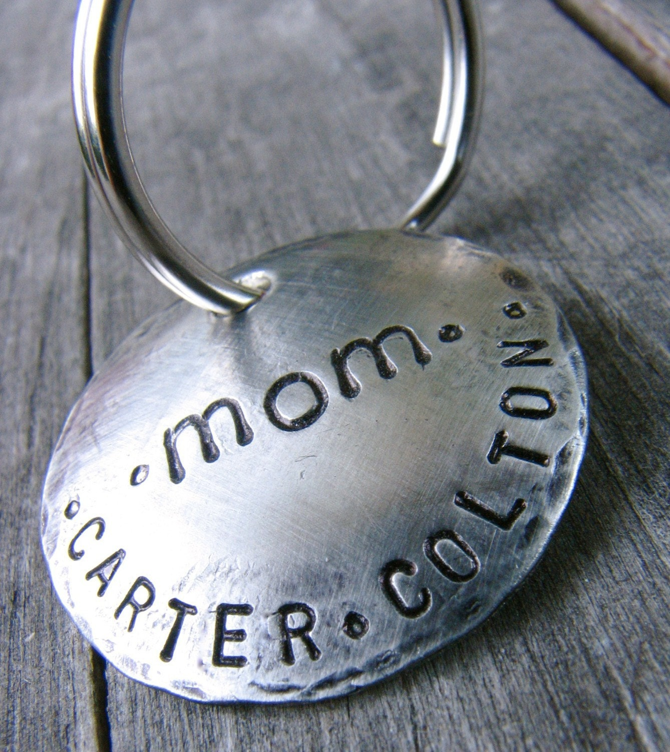 Custom Keychain for Mom, in Nickel Silver - Great for New Parents
