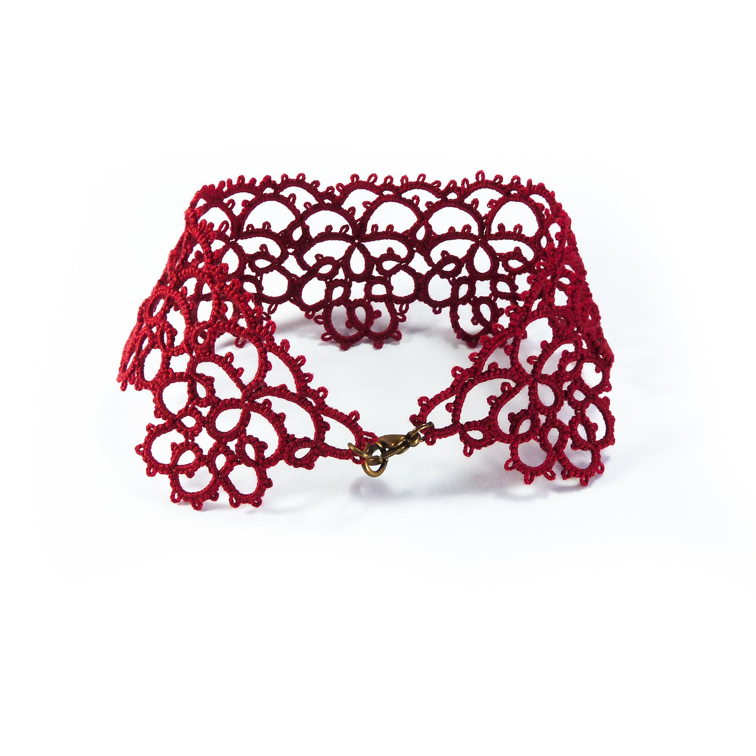 Burgundy oxblood  red cuff bracelet lace bracelet tatting jewelry bracelet lace terracotta - Decoromana