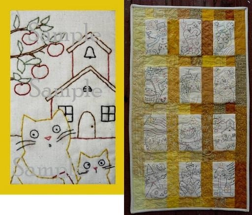 KITTY CAT with SCHOOLHOUSE APPLES FALL quilt E PATTERN DESIGN Seasonal stitcheries primitive embroidery