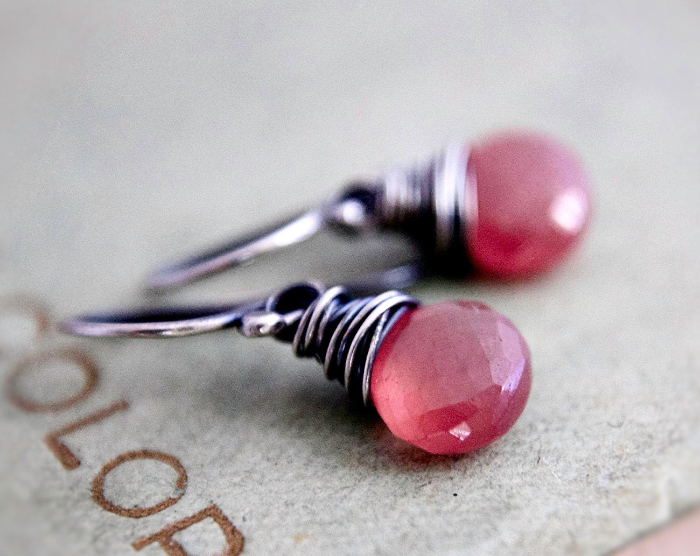 Black Friday Sale Strawberry Earrings Pink Drop Dangle Earrings Rhodochrosite Gemstone Jewelry For Her - PoleStar