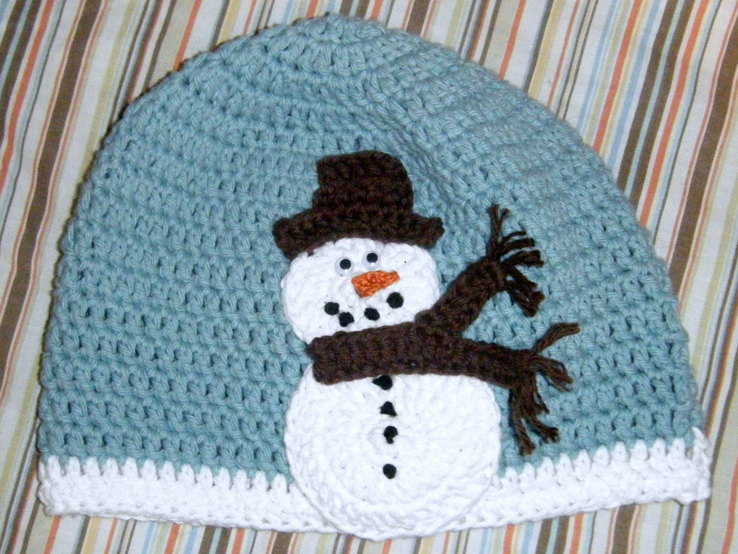 Custom Crochet Snowman Hat Any Size/Colors