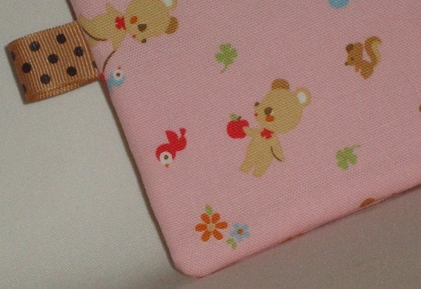 Smiling Bear and Birdie Pouch  Pink by WolfBait on Etsy