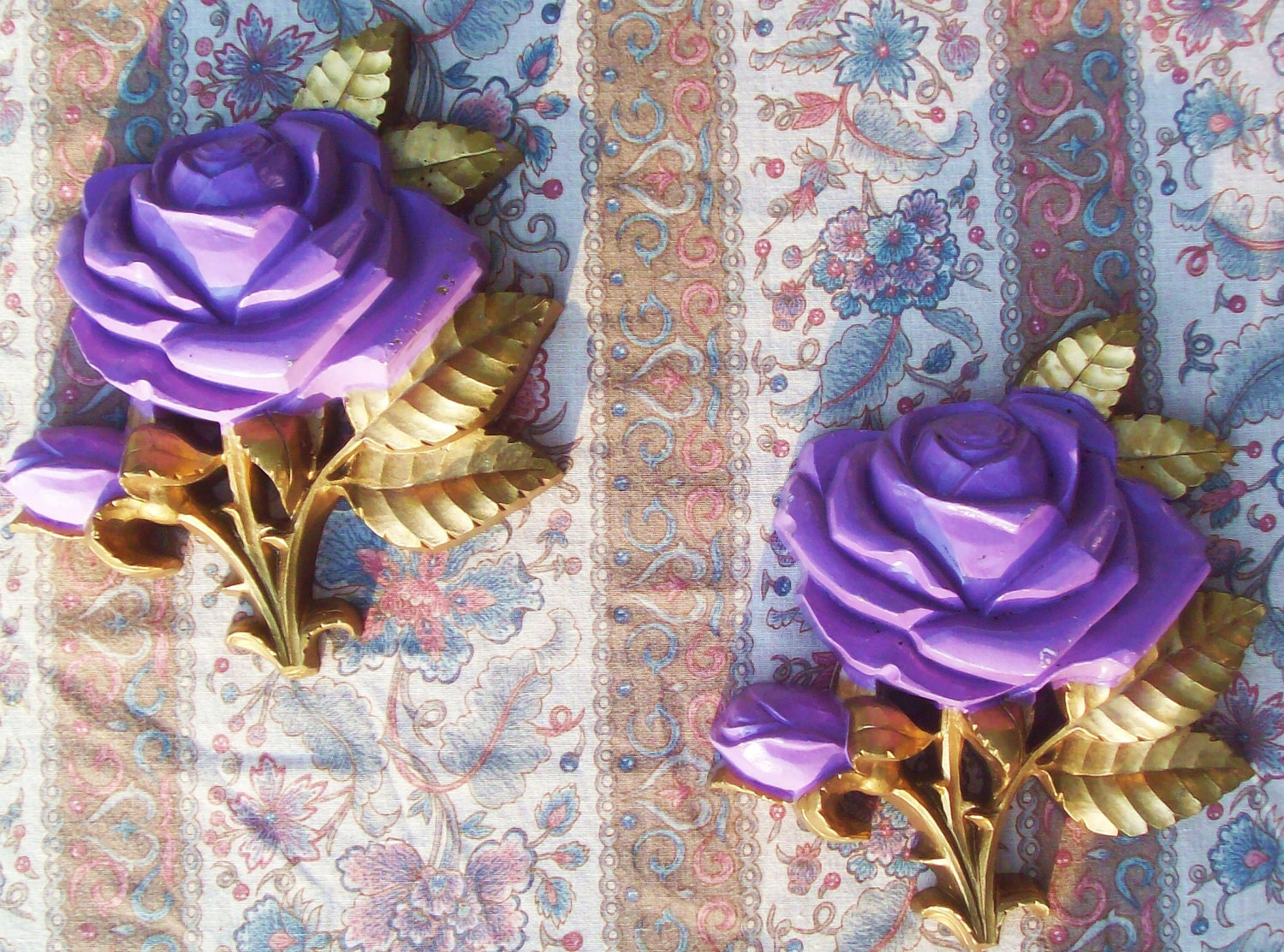 purple shabby chic decor Vintage 1974 Pair of Homco Purple and gold rose wall plaques vintage wall decor shabby chic