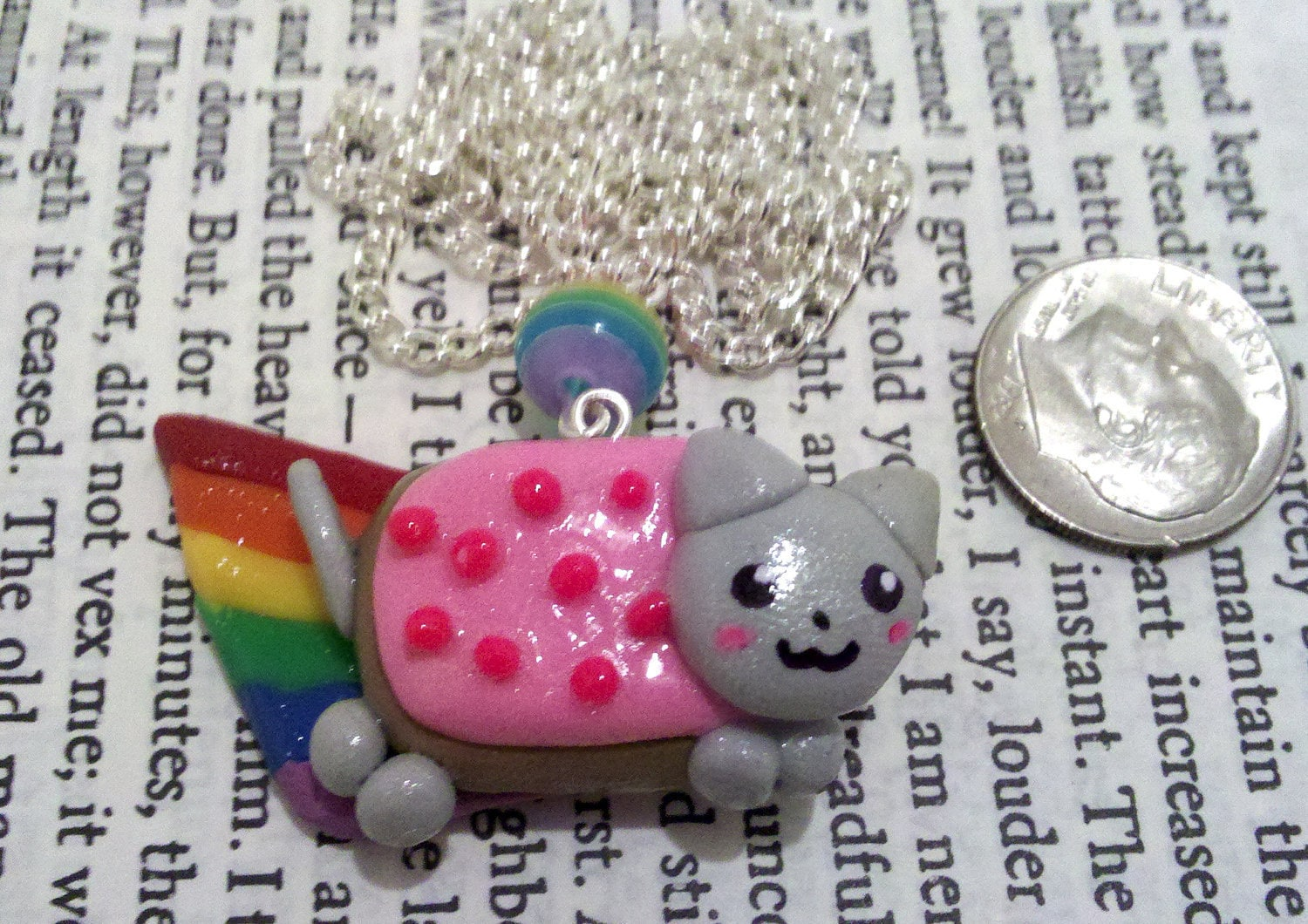 Nyan Cat Polymer Rainbow Bead Charm Necklace