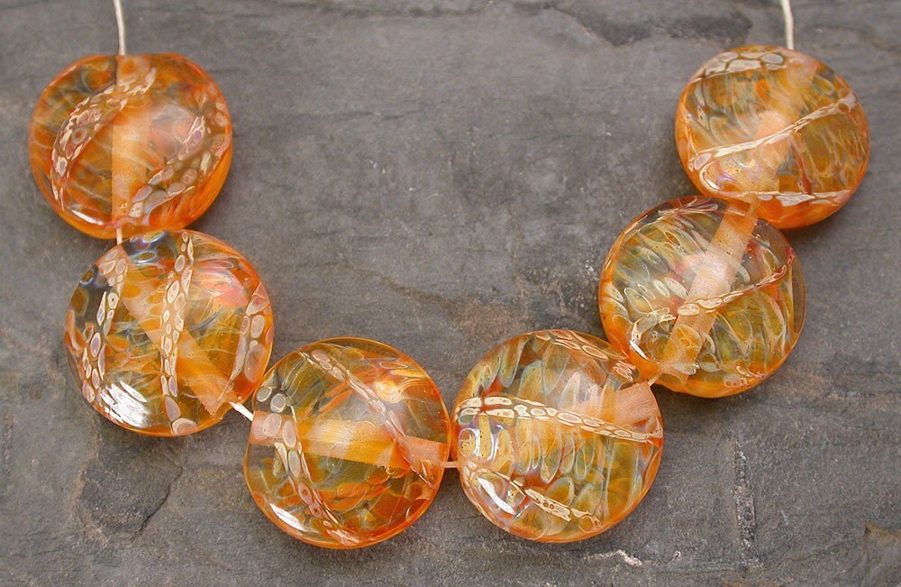 Sunshine Boro Lentils Lampwork Glass Bead Set SRA