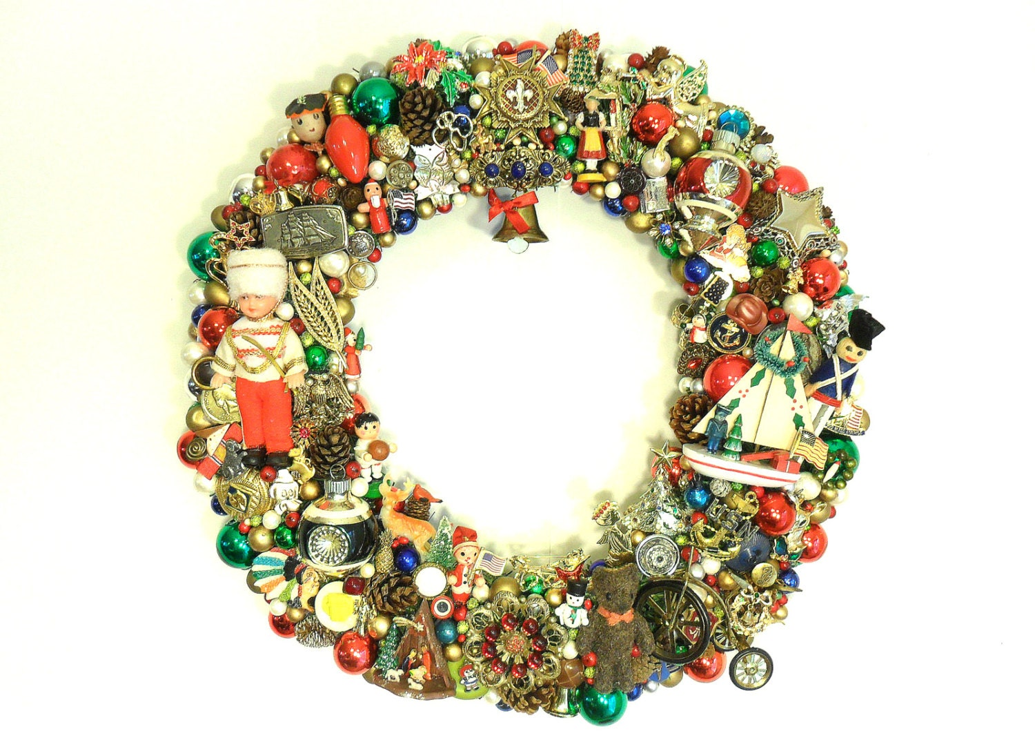 Christmas wreath with vintage jewelry trinkets by sweetlenasretro