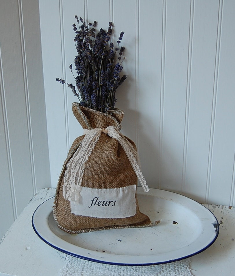 French inspired burlap bag with dried lavender